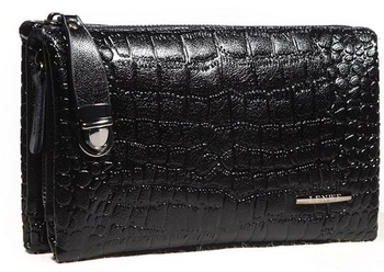 100% GENUINE LEATHER men day clutch bag, Male fashion business double zipper crocodile skin bag, large Cowhide leather wallet