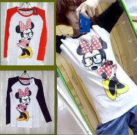 FREE SHIPPING Women's Sweater Female Bear Ear Couples Dress Cartoon Mickey Mounse T-shirt