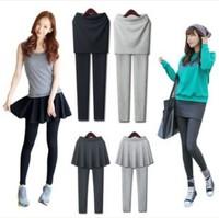 Women Autumn Winter Skinny Pleated Skirts Leggings Black Gray Fashion Fleece Warm Cheap Thermal Leggins napping Clothes