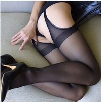 DropShipping Sexy Womens Lady Black Lace Edge Pantyhose Socks Lingerie Open Crotch Stockings  FreeShipping