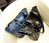 2013 new Europe and America brand skull women handbags leather Motorcycle Bag chain shoulder messenger  purse free shipping