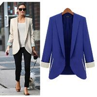 2014 fashion female suit slim long-sleeve suit pink medium-long plus size clothing outerwear
