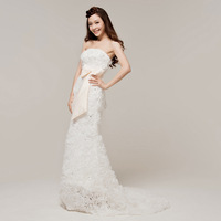 bride dresses 2014 new arrival sexy Bra top bowknot Slim memaid wedding dress lace flowers small tail bride gown H12093