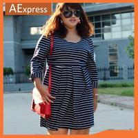 2013 New Arrival Fashion Women Plus Size Dresses, Long Sleeve Slim Dress with Stripes, Black and White, M, L, XL, XXL, P-018