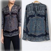 2014 spring  summer chiffon shirtFall New Europe casual retro print V-neck long-sleeved chiffon shirt Women free shipping
