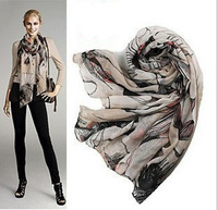 80cm *180cm New Style Fashion Hot begonia flower Scarf Women Warm Classical ink printing cold ink drawing begonia flower shawl