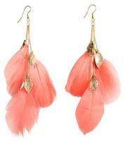 European and American bohemian retro fashion leaf feather earrings Long earrings feather earrings Free shipping over $ 10