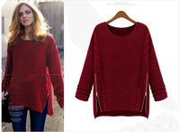 Free Shipping 2013 Hot Sale Women's Fashion Autumn Winter apparel Full Sleeve Plus Size O-neck Pullovers knitted Sweater 302