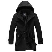 2014  Men's single-breasted Overcoat Single-breasted Coat Short Design Woolen Wind Coat Men Slim Outerwear size M-6XL