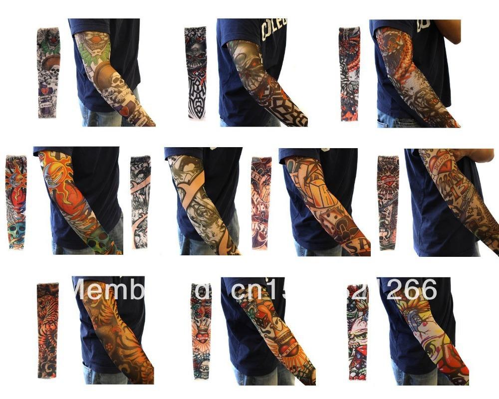 10 pc falsificados Temporary Tattoo mangas Body Art braço meias acessórios - desenhos tribais crânio do dragão e Etc(China (Mainland))