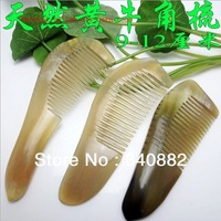 Factory wholesale 12 cm below the natural ox horn comb quality from Africa yellow cattle hair combs free shipping