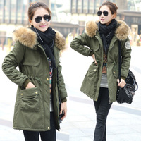 2013 Women's Cotton-padded Jacket, Fur Collar,Large Long Zipper  Hood Coat Thickening Clothing,Army Green Winter Parka M-XXXL