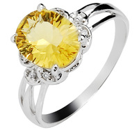 Free shipping  natural yellow crystal ring female multicolour gem ring 925 pure silver crystal ring  citrine ring
