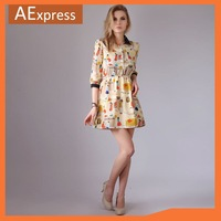 Free Shipping, 2013 New Arrival Summer Dress With Character Printing, Puff Sleeve Turn-down Collar Women's Dresses
