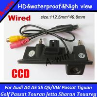 car rear view camera for Audi A4 A5 Q5 VW Passat Tiguan Golf Touran Jetta Sharan Touareg CCD HD car trunk handle backup camera