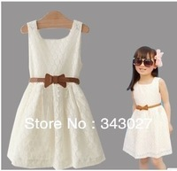 Retail! 2013 new sleeveless Lace Dress Girls Toddler Princess Party elegant dress for girl Bow Kids Formal za fashion  YZ014