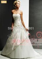 sexy Wedding dress new 2014 bridal tube top vestido de noiva embroidery satin wedding dresses plus size wedding gowns