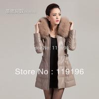 2014 winter genuine leather clothing female fox fur sheepskin leather slim medium-long down liner hooded 7 color for option