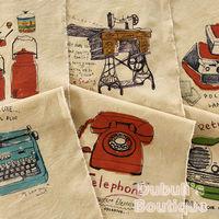 Vintage Retro Element Typewriter Telephone Recorder Illust Cut Cotton Linen Quilt Fabric Charm Sewing Handmade Textile, 88x145cm
