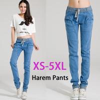 Free Shipping XS-5XL Women Plus Size Jeans Harem Pants Loose Denim Cargo Pants Stretch Casual Trousers P003