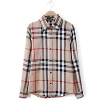 ZA Blousas Femininas 2014 Spring Summer European Style Brand Women Cotton Blended Plaid Shirt Blouse