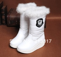 Free shipping winter boots Sponge cowhide rabbit hair female waterproof boots in the platform