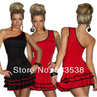 2 Sizes 2 Colors Sexy Women's Mini Dresses One Shoulder Ruffles Sexy Nightclub Cocktail Dresses Sexy Lingerie Sundress Dresses