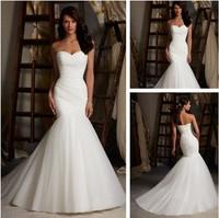 Hot Sale Mermaid/Trumpet Sweetheart Wedding Dress White/Ivory Fashion Organza Pleat Wedding Gown The Cheap Dress Back Up Back