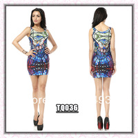 Free shipping, 2013 Galaxy blackmilk owl sleeveless slim one-piece dress ,LADY tank dress