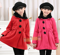 Free shipping New Fashion Brand Winter Children's Girls Solid Coat Outerwear, Kids down jacket Woolen Collar