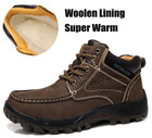 Free Shipping,Men's Fashion Ankle Boots,100% Genuine Leather,Woolen Inside,Winter Protection,Super Warm,Non-Slip,Big Size(China (Mainland))
