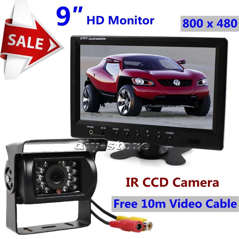 DC12V 9 inches Headrest TFT LCD HD Display Car Monitor With BNC / AV Input + IR CCD Rear View Camera Surveillance Camera(China (Mainland))