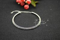 free shipment  2 row Crystal Rhinestone Collar Necklace Choker Necklaces Wedding Birthday Party