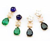 2014 New Fashion Sweet Green Crystal Water/Rhinestones  Earrings Design Earring Brand Earrings Free Shipping