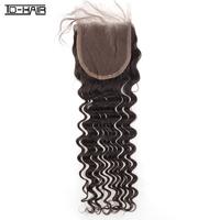 New arrival 1pc lot  Malaysian Hair Deep Wave Lace Closure 100% Human virgin Hair natural color 1b#, TD-HAIR