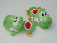 "Free shipping Retail 1 pair Green yoshi slipper Yoshi slippers Super Mario Yoshi 11"" Adult Soft Plush Stuffed Slippers Green"