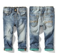 NZ202,Free shipping! 2014 new denim flanging leisure children trousers boys jeans girls fashion pants wholesale and retail