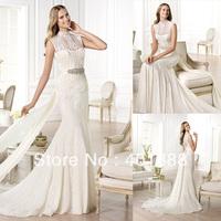 Wholesale Sheath Neck White Chiffom Flowing Lace Wedding Dress 2014