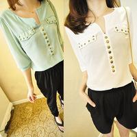 Fashion a v-neck joker rivet sleeves loose chiffon blouse