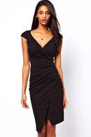 roupas femininas 100% Polyester Ruched Wrap Midi Dress  high street  2014  informal dress  One Size and XXL  Sexy & Club