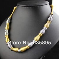 18K gold  long necklace  women and men 2014 New unique design  necklace 18inch in length