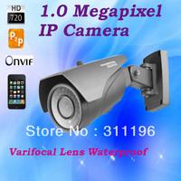 720P HD 1.0 Mega Pixels  Infrared IP Camera Varifocal Lens 2.8-12mm Plug and Play Outdoor Waterproof Network Surveillance Camera
