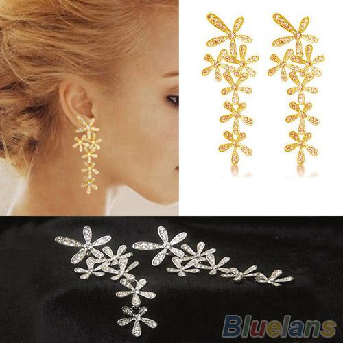 Women 2014 New Fashion Full Rhinestone Crystal Long Snowflake Flower Dangle Drop Tassel Earrings Gold Silver Sale 1NUO(China (Mainland))