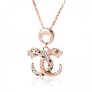 QN68 Double C Leopard Design Necklace, Popular Crystal short Necklace, Leopard Pendant Women Jewelry,Women Gift,Christmas Gift(China (Mainland))