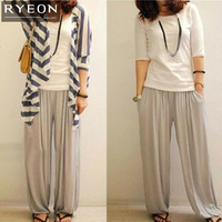 Free shipping 2013 New Cotton Bloomer,Wide Leg Pants,Yoga Dance Women Pants,Loose Femal Bottoming pants,Bing Swing 2 colour Pant