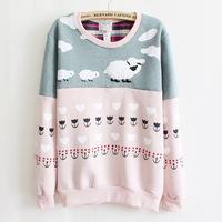 2014 Autumn Hoody Pullovers Winter Lady Casual Korean Design Thick Fleece Cartoon Sheep Cotton Hoodies Women's Sweaters