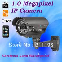 IP Camera Outdoor H.264 1.0 Mega Pixels HD 720P  Varifocal Lens 2.8-12mm P2P Waterproof Security Webcam