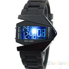 Из светодиодов самолеты часы цифровые мужчины спортивные часы военные часы из нержавеющей стали назад легкие платья женщин силиконовые наручные часы 1O1K(China (Mainland))