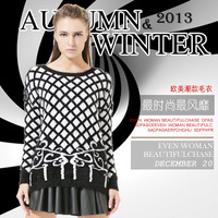 European and american women's 2013 sweater woman tops winter print black and white long sleeve warm retro sweaters pullovers