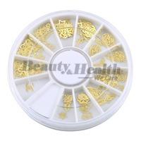Mixed Design Gold Metal Slice Nail Sticker Wheel Nail Art Decoration Decals Acrylic Tips